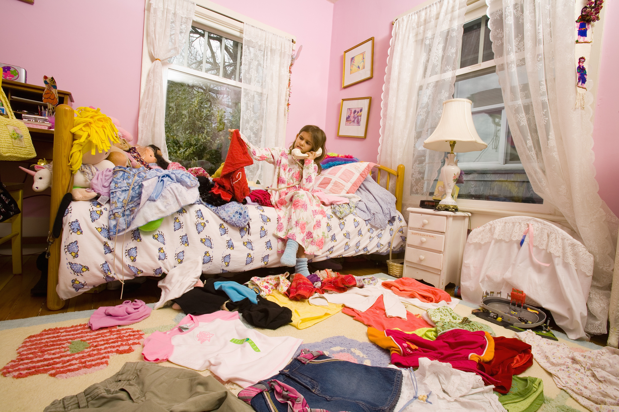A very messy bedroom that is in need of a through cleaning and organization  effort. 31 1 parent organize cure messy kids slideshow 31 girl bedroom