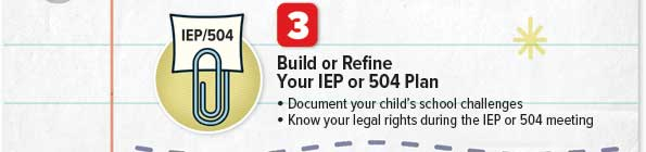 Build or refine your IEP or 504 Plan