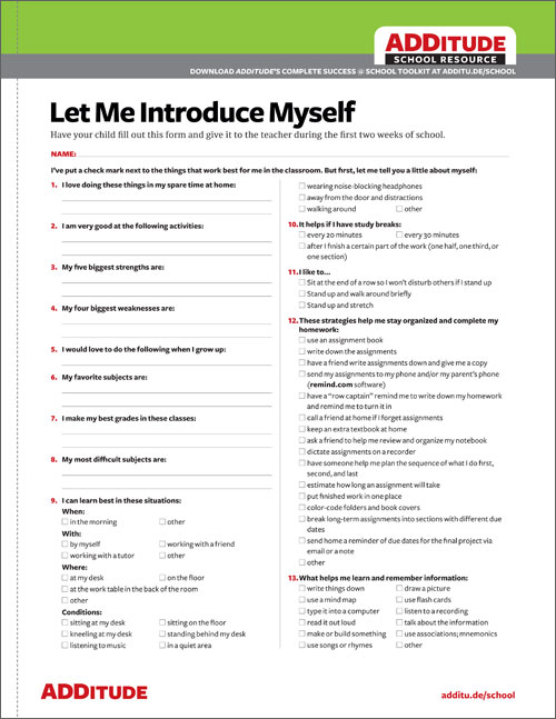 Introducing Your Child To A New Teacher Adhd School Resources. Allow Me To Introduce Myself. Kindergarten. Introducing Yourself Worksheet For Kindergarten At Mspartners.co
