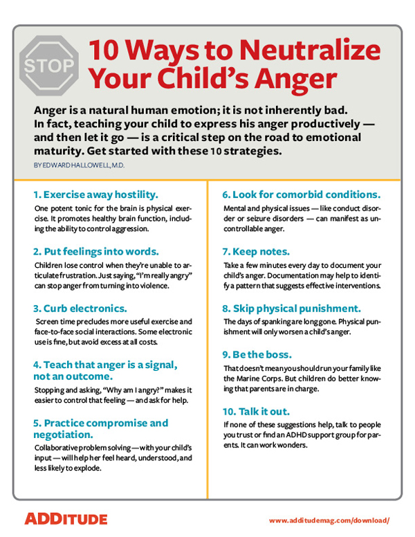 10 Ways to Neutralize Your Child's Anger