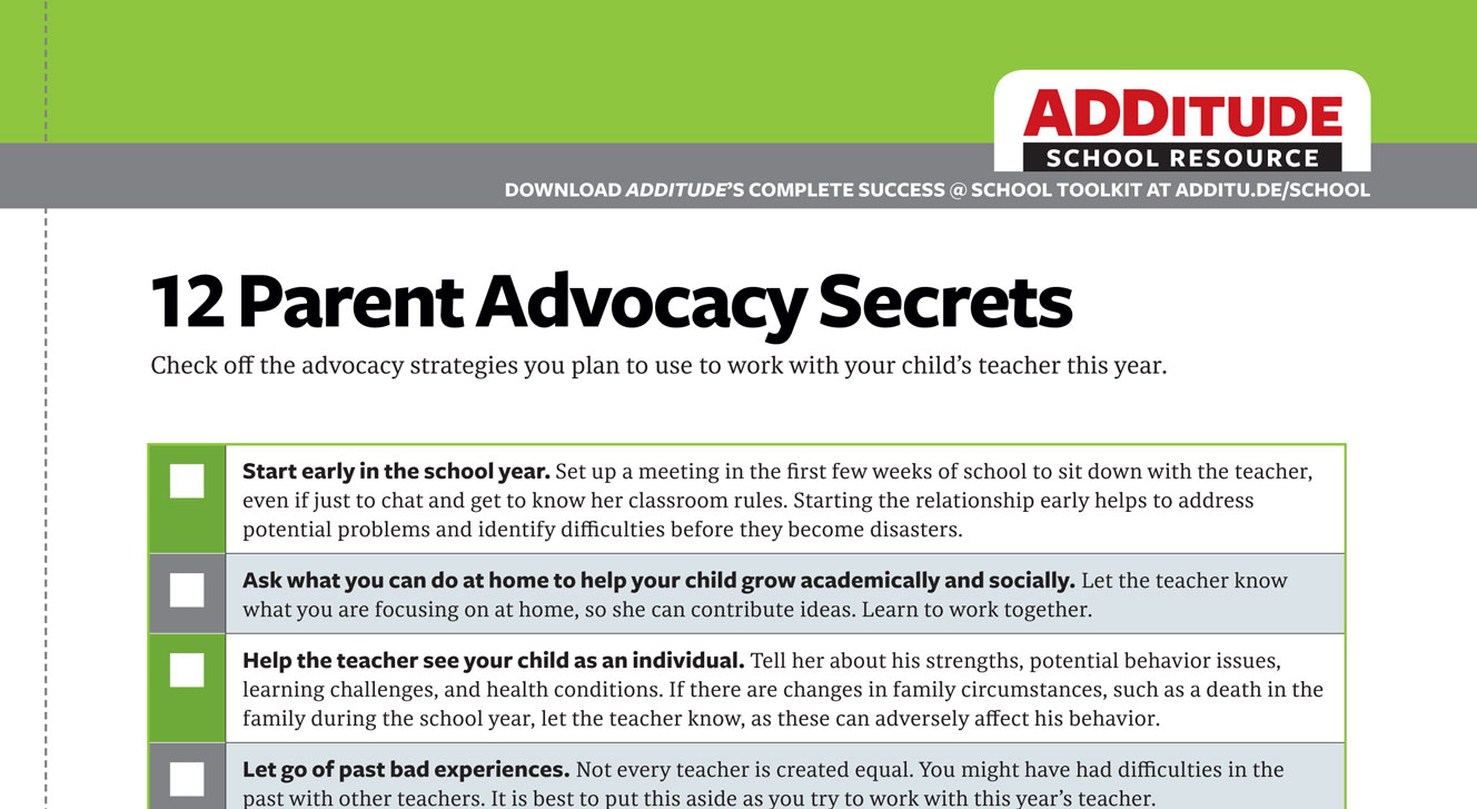 ADHD At School Checklists Sample Letters Daily Report Cards And More