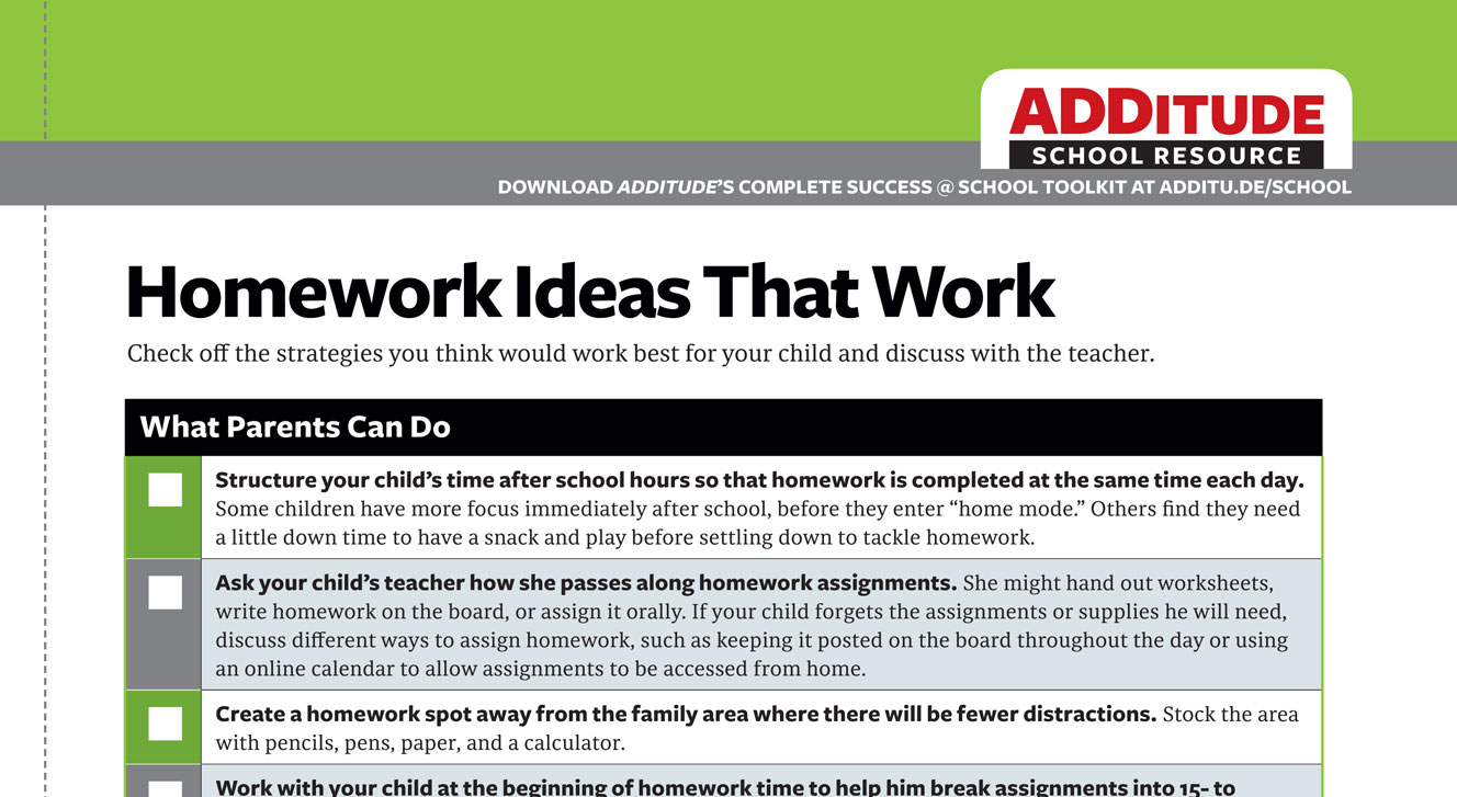 Homework Strategies for Students with ADHD: A Free Handout