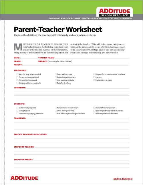ParentTeacher Worksheet Free ADHD Resource for School Meetings – The Road Not Taken Worksheet